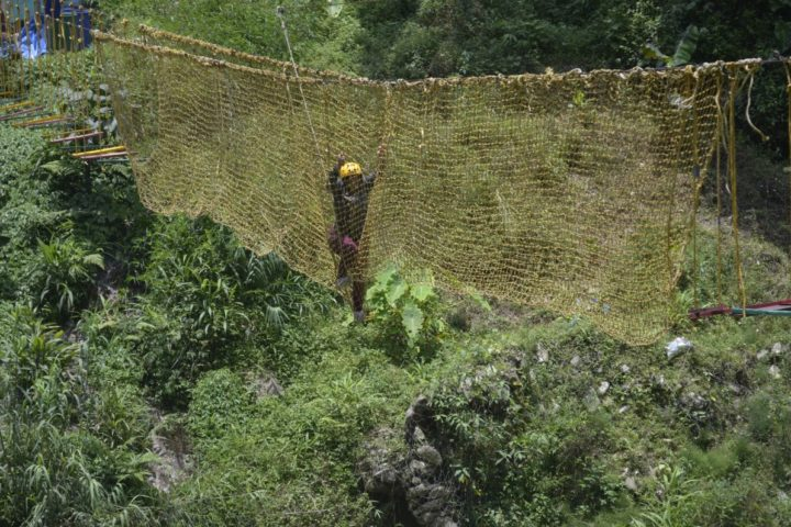 """If thinking about it makes you excited, imagine actually doing it!"" crossing the net bridge rope activity in Sikkim"