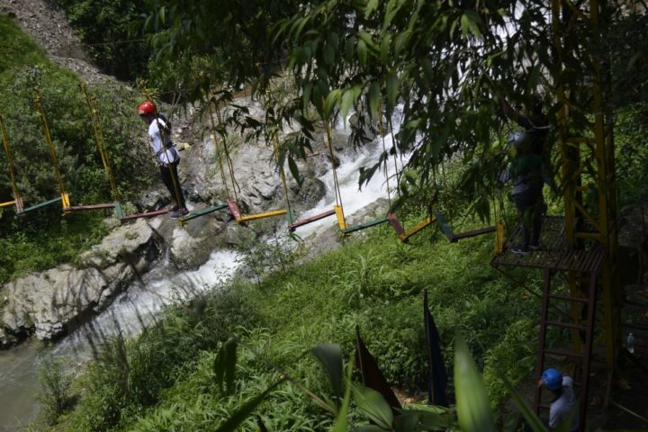 """When was the last time you did something for the first time"" walk over the rive in rope challenge course in Gangtok"