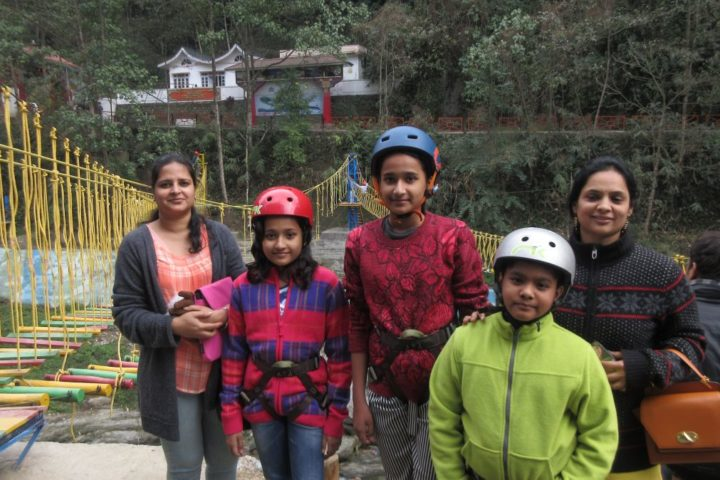 All excited for rope challenge course in Gangtok