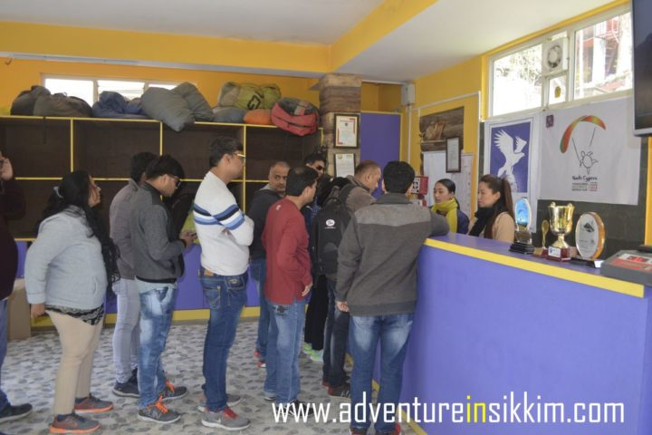 Client booking at adventure in Sikkim