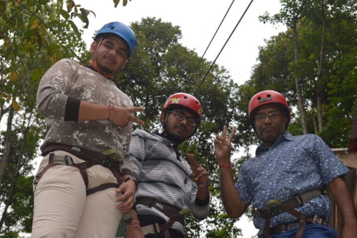 Father Son duo at rope challenge course in Sikkim