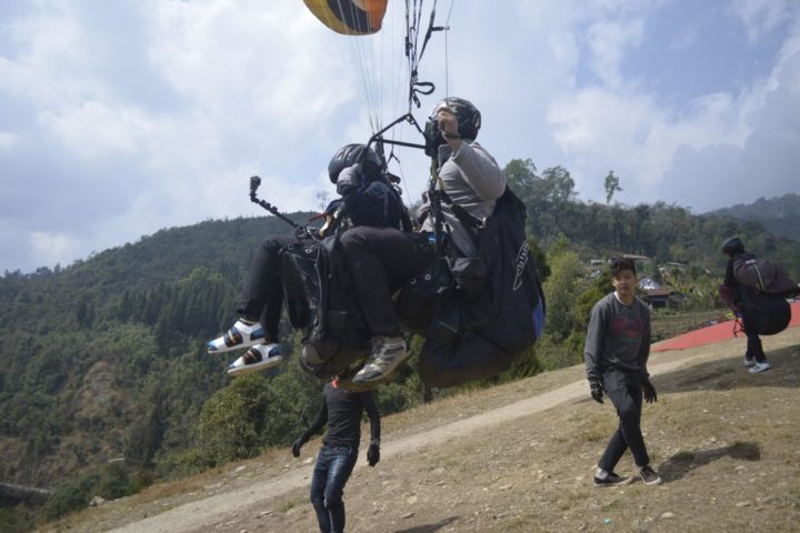 Launching in air during paragliding flight in Gangtok