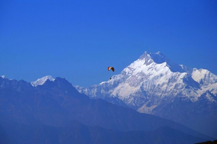 Mt kanchendzonga view from paragliding flight in Gangtok