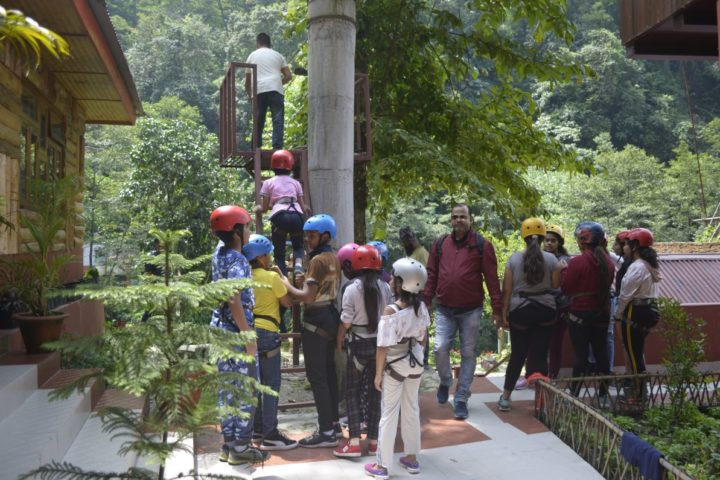 One by One ziplining in Gangtok