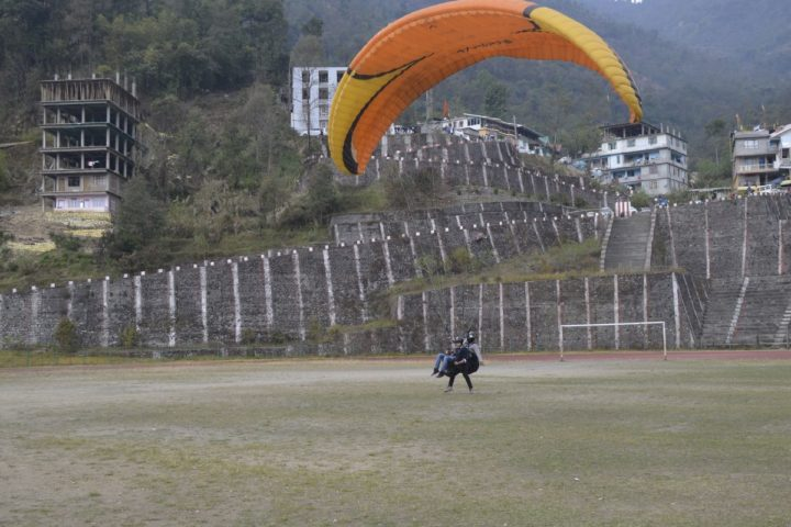 Smooth landing after paragliding flight in Gangtok