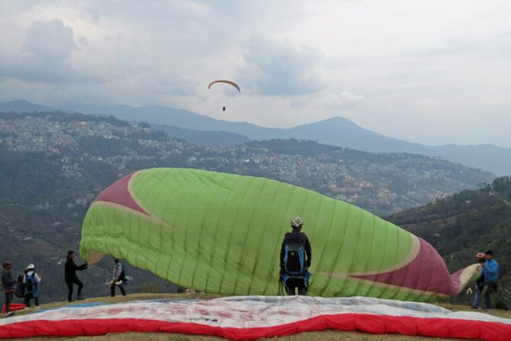 View from paragliding takeoff at gangtok