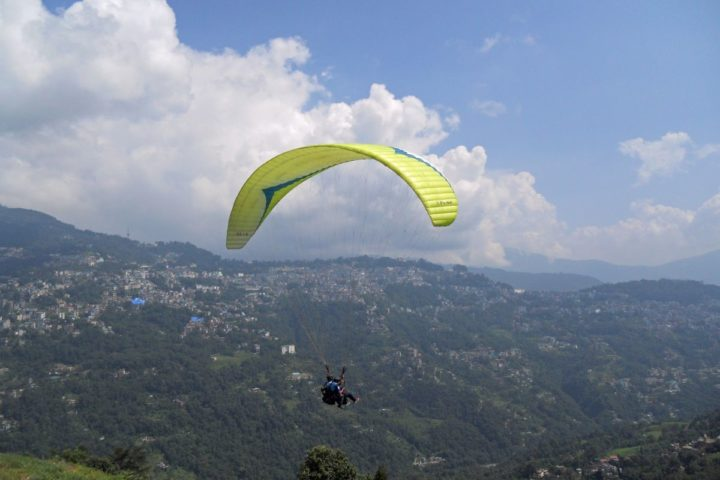 View of Gangtok town from paragliding takeoff point