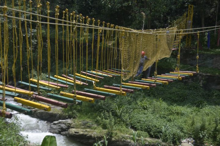 crossing the net bridge rope activity in Gangtok