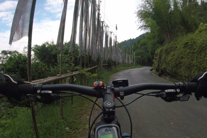 Cockpit view of mountain biking in Gangtok,Sikkim